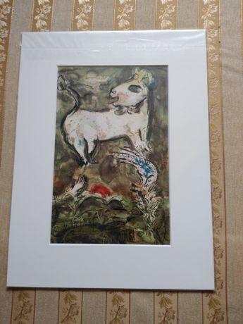 Marc Chagall Okna Jeroz. Fruwający osioł - litografia oryginalna 1962.
