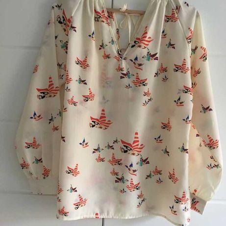 Bluzka kremowa z nadrukiem vintage