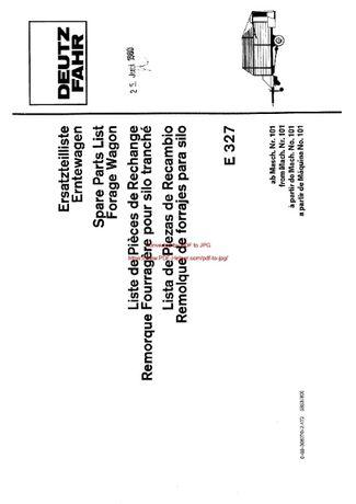 Katalog części Przyczepy samozbierającej Deutz Fahr E 327