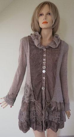 Elisa Cavaletti cudowny płaszczyk/sweter ze złoceniami (sklep 700) L