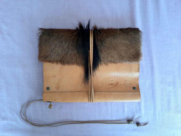 Pasta/ Porta Cartões/ Bloco de notas em Pele com pêlo - Handmade