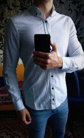 Casual белая рубашка в крестик (мелкий)
