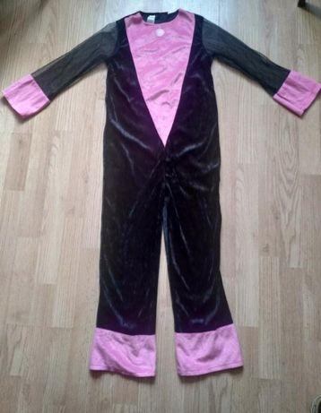 Костюм пантеры кошки комбинезон черный велюр с розовым George