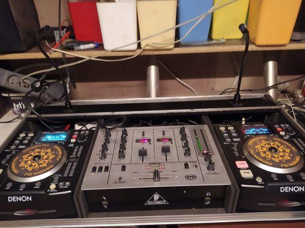 Zestaw DJ Denon, mikrofony mixer światła.