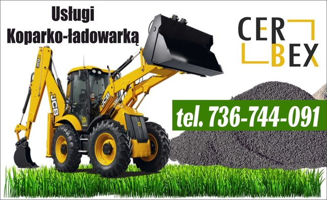 Usługi ziemne koparko ładowarka koparka piach 20 ton wynajem Chełmno