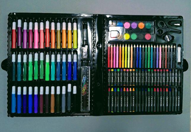 Набір для малювання на 150 предметів в кейсі олівці, фломастери, фарби
