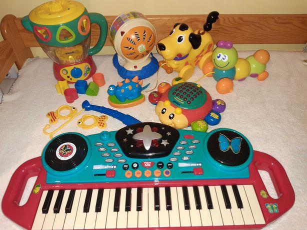 Zabawki,pianinko,piesek,kula,mikser,biedronka vtech