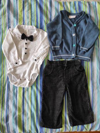 Elegancki zestaw, body z muszka, sweterek i spodnie 68 na chrzest