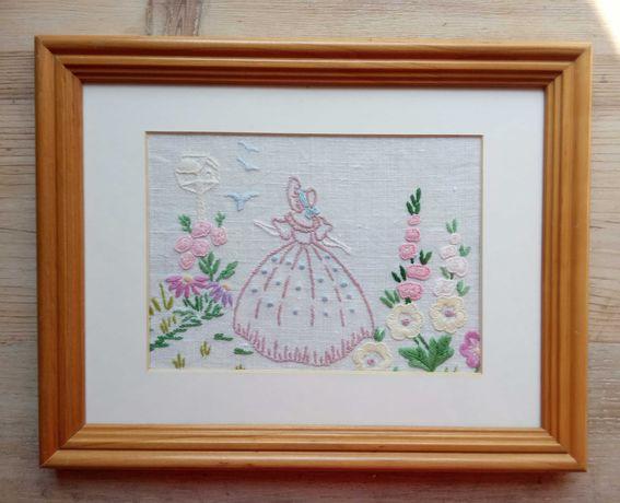 Obraz, haft, kwiaty, rękodzieło