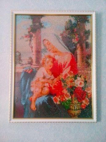 Картина икона выполнена в технике Алмазная вышивка