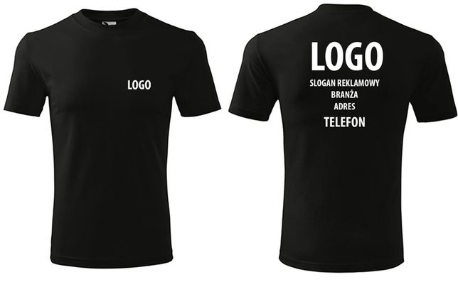 Koszulka z logo firmy własnym nadrukiem tshirt odzież reklamowa