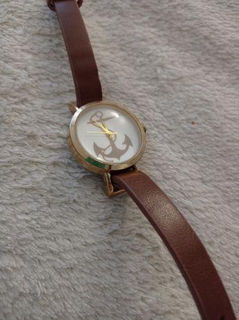 Nowy zegarek z kotwicą brązowy pasek