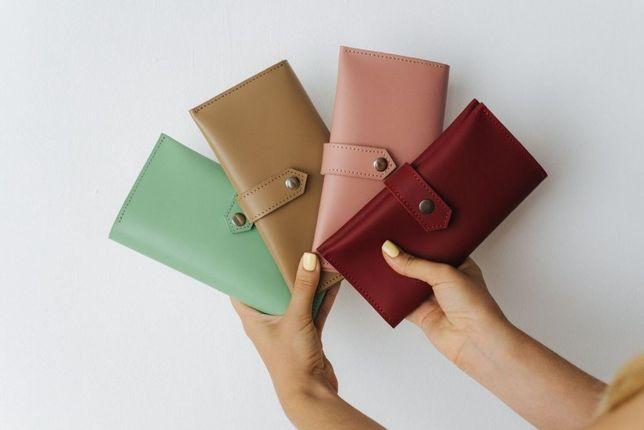 Женский кожаный кошелек, бумажник, шкіряний гаманець, портмоне-клатч