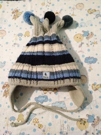 Зимняя очень теплая шапка 1-3 года