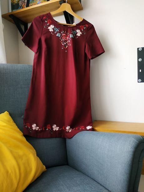 Sukienka trapezowa ciążowa bordo 36 S HM