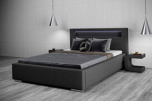 Łóżko Sypialniane Tapicerowane +LED Stelaż 140x200
