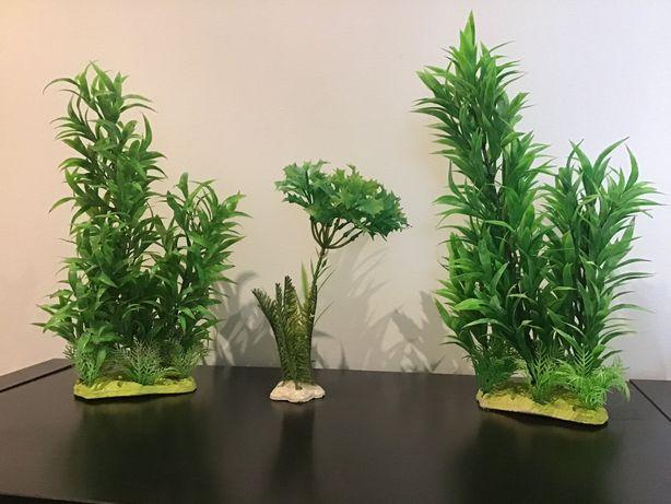 Conjunto de 3 plantas artificiais para decoração de aquário.