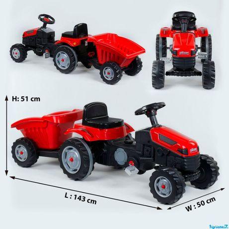 Трактор педальный с прицепом Pilsan 07-316, 2 цвета, клаксон на руле.