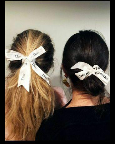 Акция подарок 14 февраля 8 марта Лента на волосы заколка chanel gucci