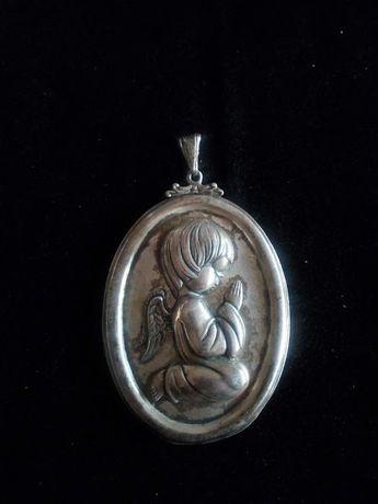 Anjo da guarda em prata