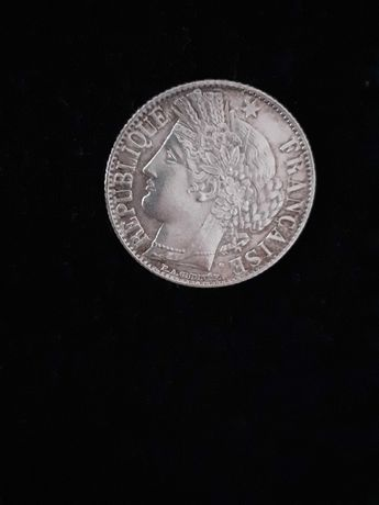 Coleção de Moedas antigas - 1 Franc francês de 1888 bonita patine