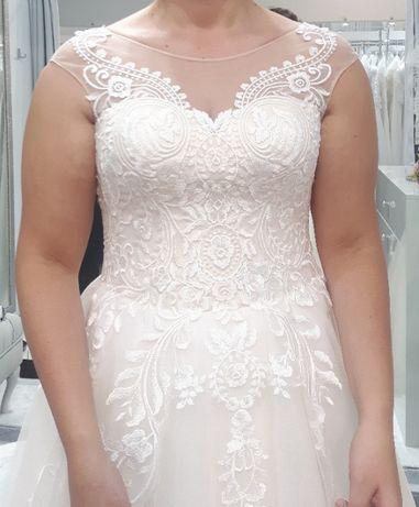 42 44 XL XXL Śmietankowa suknia ślubna wyjątkowa ivory komplet welony