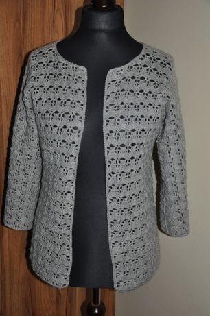 Sweter dziergany, szary 40L