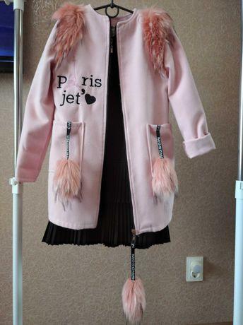 Кардиган пальто школьный сарафан 130-140см.