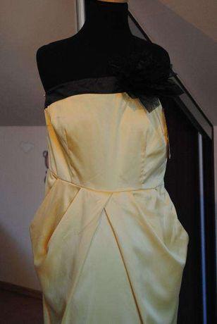 suknia wieczorowa zolta, sukienka na wesele, sylwester