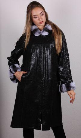 Куртка кожаная двусторонняя с натуральным мехом шиншиллы.  Рекс.