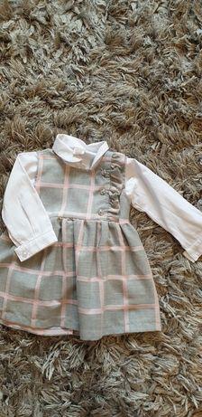 Zestaw sukienka z koszula 74- modny dzieciak