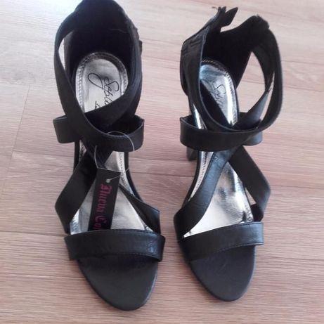 Czarne damskie sandały