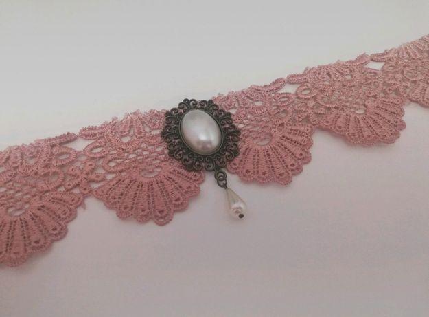 Szeroki Choker Różowy Pudrowy Lolita Goth Gitycki Koronka Vintage