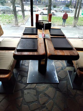 Стол дубовый и две скамейки для дачи, беседки, кафешки.