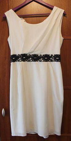 Biała, elegancka, sukienka na wesele, imprezę. r.38, De Facto