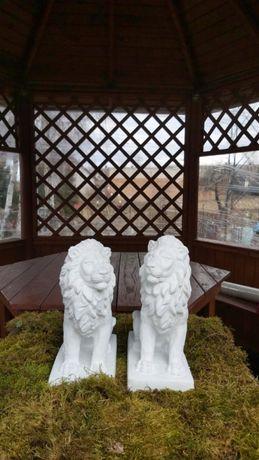 Figura ogrodowa z białego betonu para lwów 3 kolory