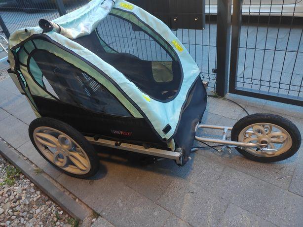 Wózek riksza do rowerowa dla 2 dzieci przyczepka