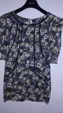 MANGO- bluzeczka KRÓTKI RĘKAW, kwiaty - 40/L