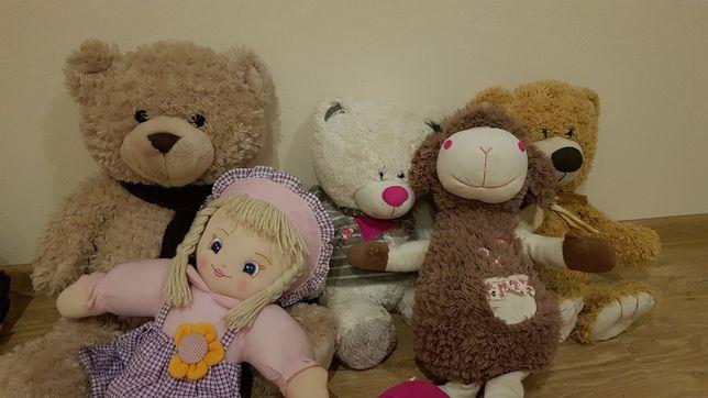 Maskotki miś, owieczka, lalka