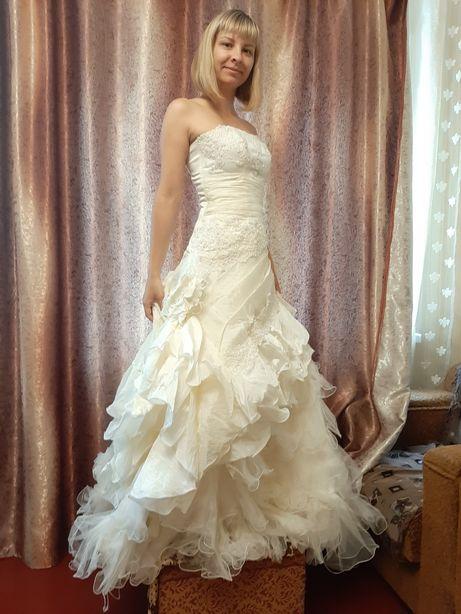 Платье свадебное выпускное, шампань