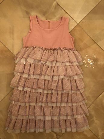 Нарядное розовое платье,рост 128(7-9 лет)