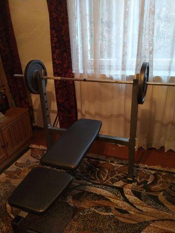 Siłownia, ławeczka, gryf prosty i łamany 137 kg obciążenie żeliwne