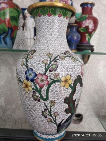 Ваза китайская клуазон, 23 см торг, обмен.