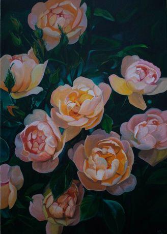 Картина маслом цветы, розы , 50х70 см, в интерьер, на подарок