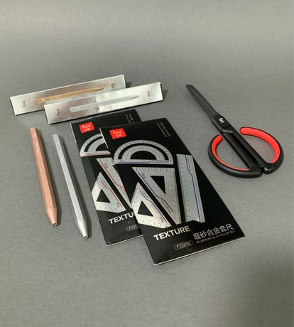 Xiaomi Fizz. Металлическая ручка, набор линеек, канцелярские ножницы