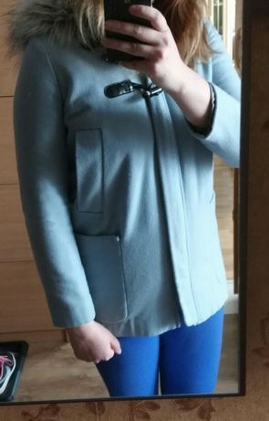 Parka kurtka wełenka wełniana kaptur baby blue