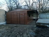 garaż 5x6 z wiatą, garaże blaszane, hale, garaże drewnopodobne