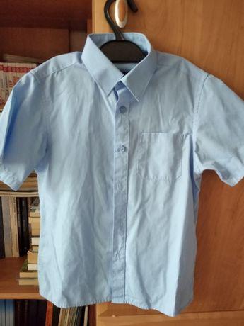 Рубашка школьная Marks and Spencer голубая р.128 короткий рукав