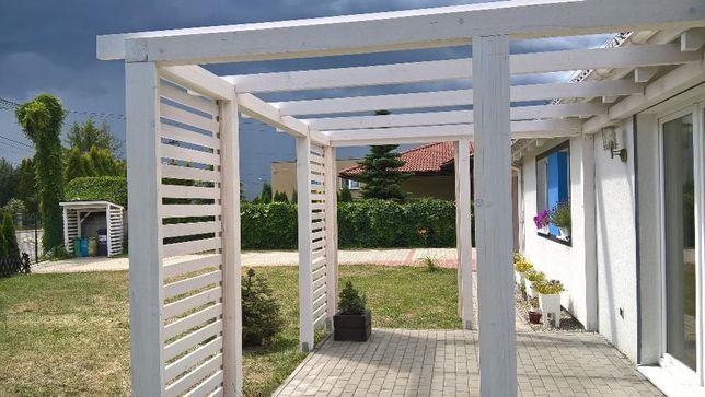 pergola na taras piękna biała i solidna konstrukcja 4m na 3m