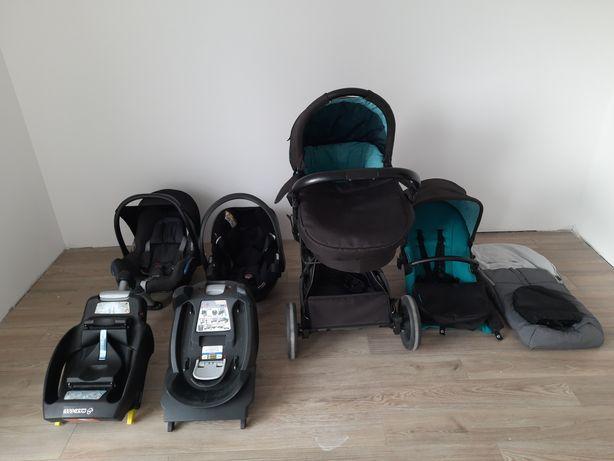 Dwa Foteliki z bazą I wózek Xlander komplet